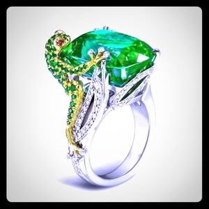925 FROG RING WITH INLAID SWAROVSKI CRYSTALS SZ 10